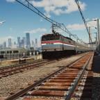 GE U60CP leaving the city