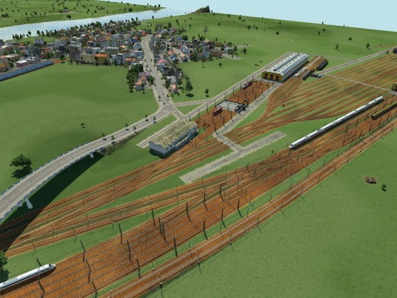 Bahnbetriebswerk mit Wagenausbesserung