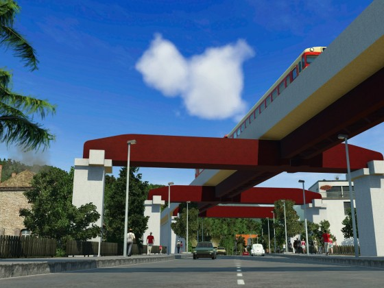 Japanese concrete bridge - Iron girder,beam Pillar
