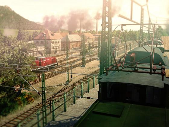 Blick auf den kleinen Güterbahnhof mit Sägewerk