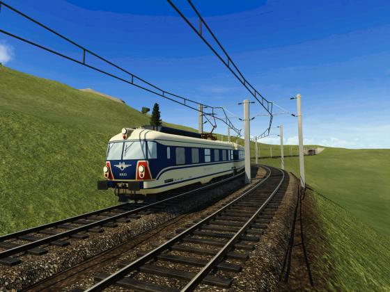 Transalpin II auf Bergstrecke   (Transalpin II aus Train Fever auf einer Transport Fever Strecke)
