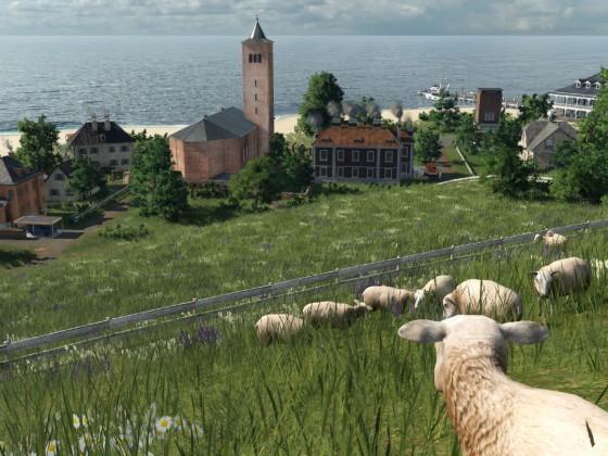 Die Schafe blicken auf das Dorf