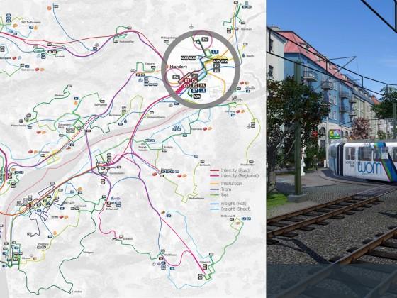 Tram 4 Übersichtsplan / Network plan tram 4