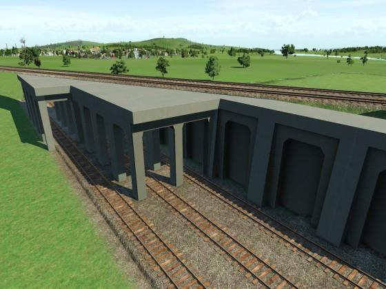 Bau eines Überwerfungsbauwerkes