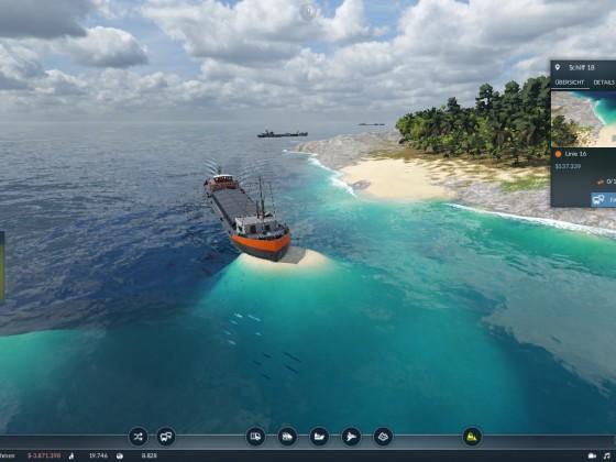 Schiff auf Sandbank