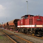 Harzkamel 199 872 schiebt F-Wagen auf die Rollbockanlage, Nordhausen 02.10.2014.