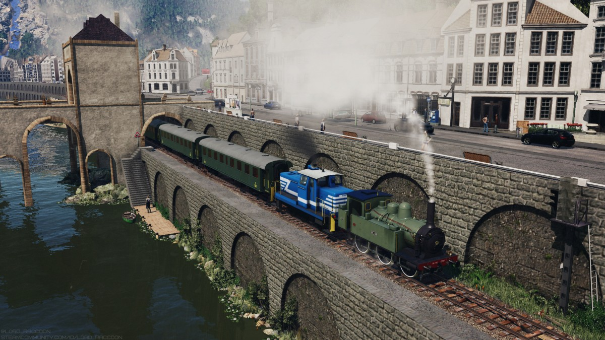 French village in the mountains and touristic steam