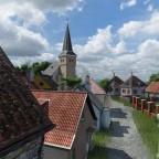 Wohnhäuser mit kleine Vorgärten. WIP