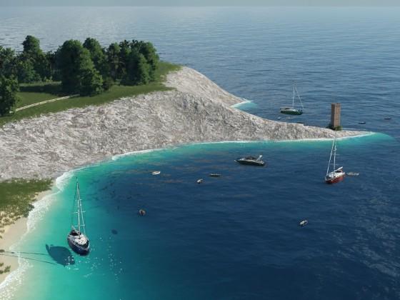 Privatboote und Yachten parken vor der Küste
