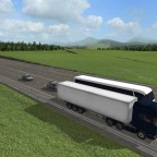 Scania V8 überholen Fernbus auf der Autobahn