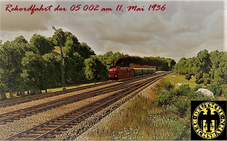 Weltrekordfahrt von 05 002 - Postkarten-Stil