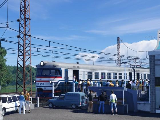 [ER1-234 beim Einsteigen von Passagieren in der Nähe von Gatchina].
