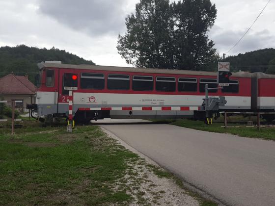 Slovak Train Bageta on Slovak Railway crossing