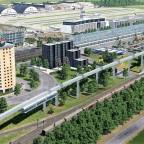 Prestigeprojekt Schwebebahn (Monorail) in Freifeld zwischen Flughafen und Messe 2/8