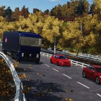 Renault on the autumn highway