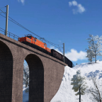 """ÖBB 1020.10 mit Güterzug am Haken passiert das """"Hochbruckenviadukt"""""""