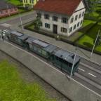 Tram mit zwei Anhängern