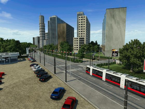 Straßenbahn passiert den Europa-Platz