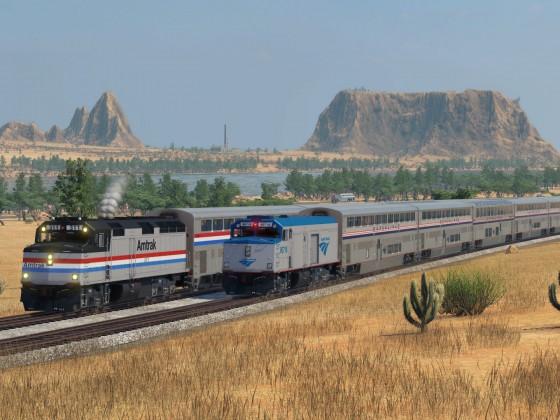 EMD F40 PH  and Superliner - Amtrak Phase III & Phase V