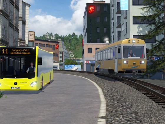 Wenn Citybahn und der Stadtbus aufeinandertreffen...