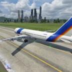 Der A320 mit Skyline im Hintergrund