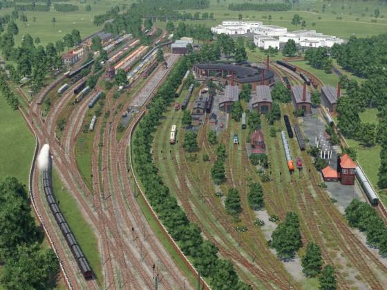 Güterbahnhof mit Lokschuppen und Abstellbereich