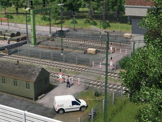 Übergang am Vorverladebahnhof des Hafens