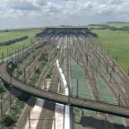 Fortschritt des Gleisvorfeldes von Vögele/ Fertigstellung der Oberleitungsmasten
