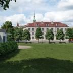 Schulhauswiese nun mit Provisoriums Pavillon
