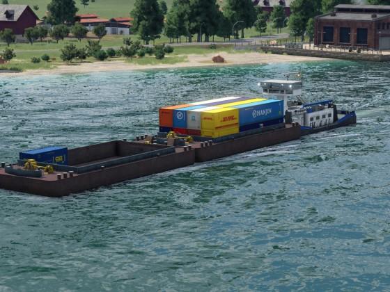 Containerschubbot unterwegs zum Hafen