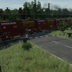 Bahnübergang am Ende des Gebietes