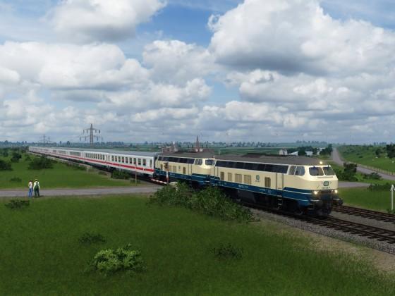 Doppel 218 mit IC nach Sylt.