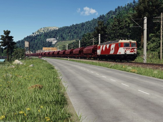 ÖBB 1044 crossing the small village