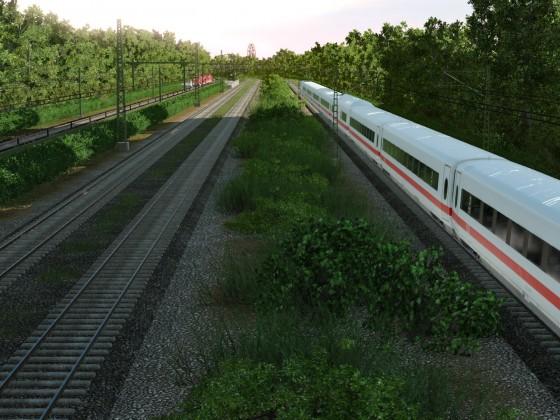4-gleisige Strecke in/aus der Stadt