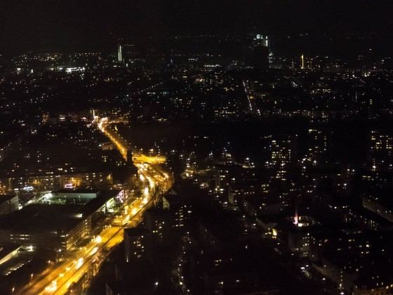 Ausblick aus dem Olympiaturm bei unserem Abendessen
