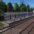 """Train station in village """"Ivanovka"""" and soviet multiple unit ER9E"""