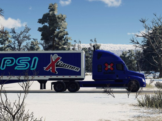 Freightliner near the mountain