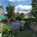 Auch Mehrfamilienhäuser können gemütliche Gemeinschaftsgärten haben