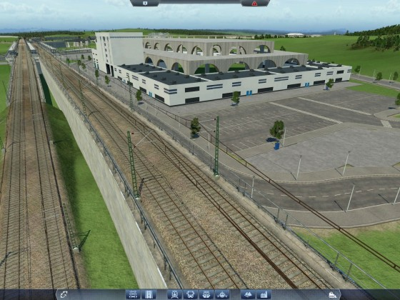 Messehalle mit Bahnhof