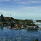 Vu du port de la capitale et du pont surplombant l'entrée du port, depuis la rive d'en face
