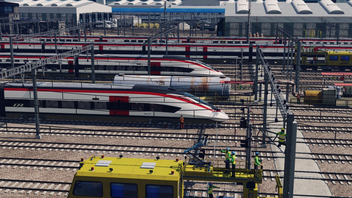 High-speed trains on the maintenance
