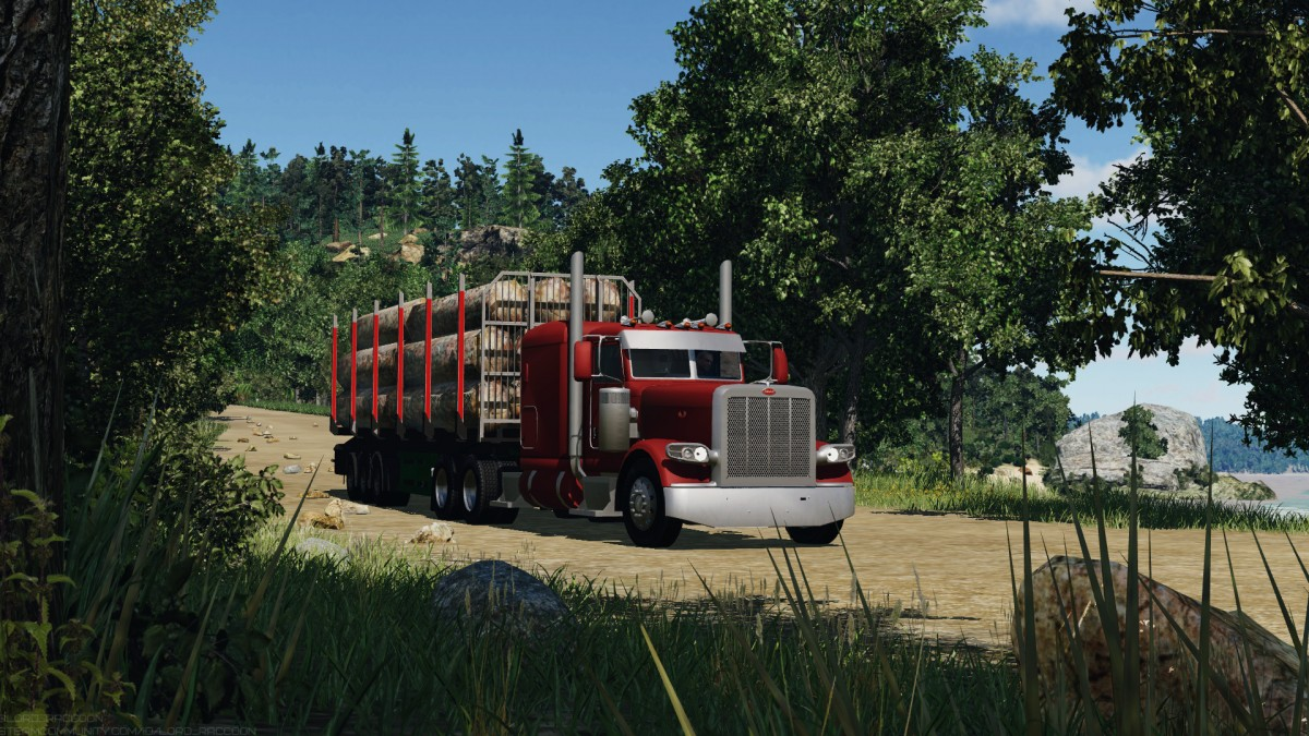 Peterbilt 389 leaving sawmill