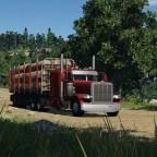 Peterbilt 389 leaving sawmill