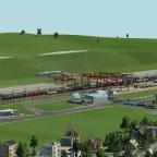 Blick von der Stadt auf die Station