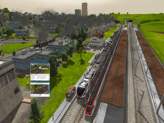 Der Zug hält am Endbahnhof Farnsworth HB