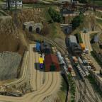 Der Umschlagplatz der Grubenbahn für die Versorgung der Minen ist auch in betrieb - links zu sehen ist auch die Pumpstation fürs Ab- und Sickerwasser der oberen Minen.