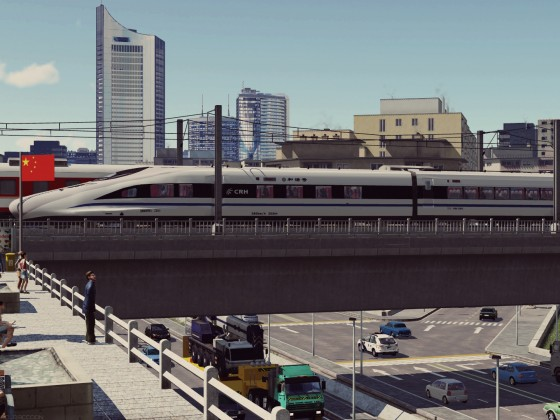 CRH380A crossing the city highway