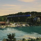 [TpF1] ChS4KVR with RIC (1435mm) passenger cars near the bridge over the river