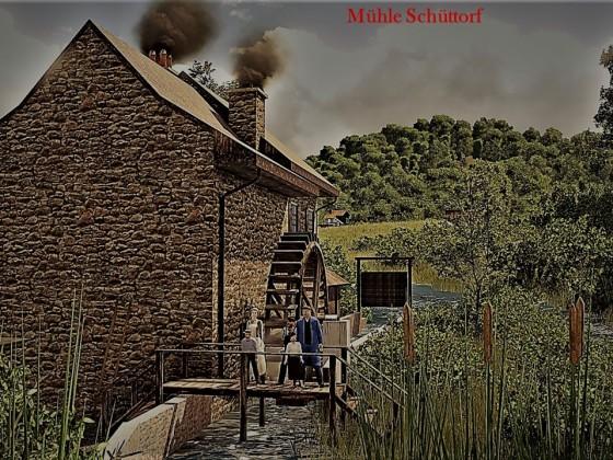 Mühle Schüttorf mit der Müllers Familie