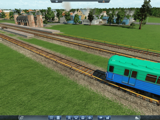 Tracks with 3rd rail and soviet metro train